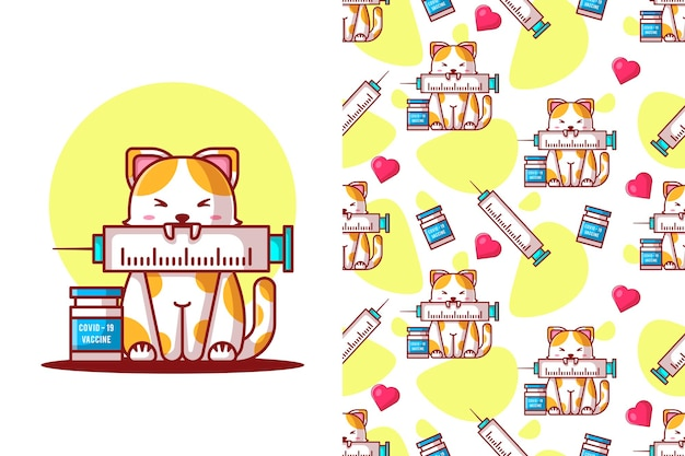 Seamless pattern cute cat cartoon with vaccine