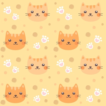 Seamless pattern cute cat and cat paw.