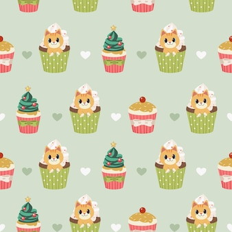 The seamless pattern of cute cat and cupcake for christmas ans holiday party with flat vector style.