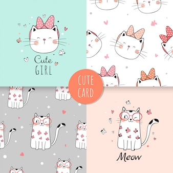 Seamless pattern cute cat for fabric textiles kids.