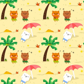 Seamless pattern cute cat hawaii party on the beach.