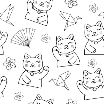 Seamless pattern of cute cat illustration doodle lineart