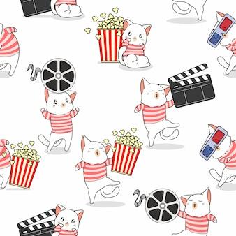 Seamless pattern cute cat loves movie