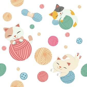 The seamless pattern of cute cat play with a yarn.