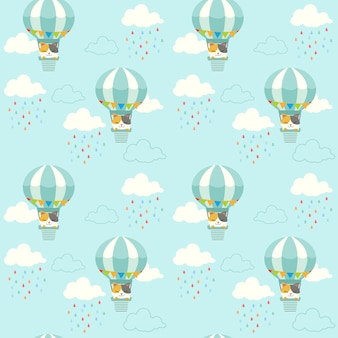 The seamless pattern of cute cat sitting in the hot air balloon on the sky. the pattern of cloud and rain drop.