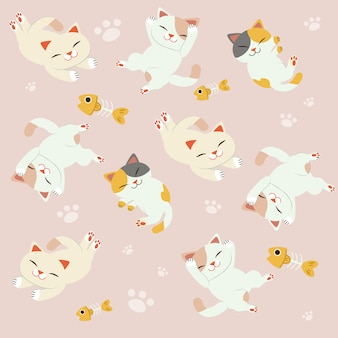 The seamless pattern of cute cat sleeping set