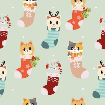 The seamless pattern of cute cat in the sock set