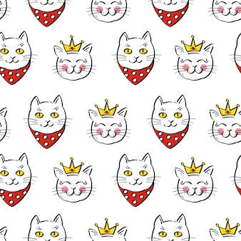Seamless pattern of cute cat, vector illustration