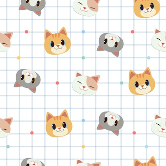The seamless pattern of cute cat in white scrapbook pattern background.