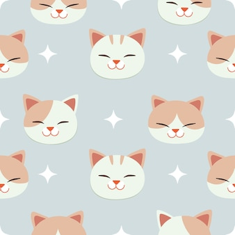 The seamless pattern of cute cat and wing