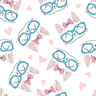 Seamless pattern cute cat with glasses and bow sketch illustration, print design cat, children print on t-shirt.