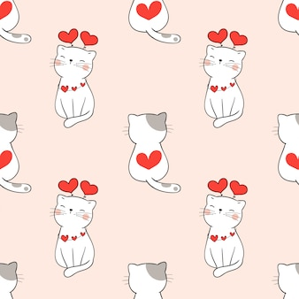 Seamless pattern cute cat with heart for valentine.
