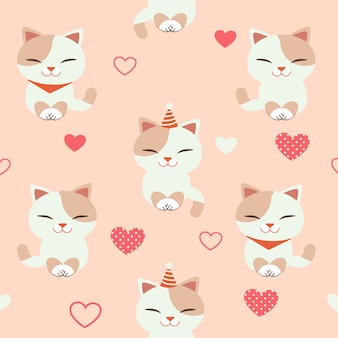 The seamless pattern of cute cat with heart