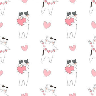 Seamless pattern of cute cat with little heart hearts