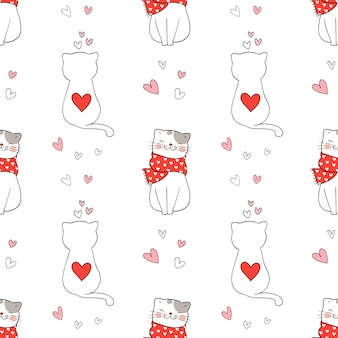 Seamless pattern of cute cat with little heart