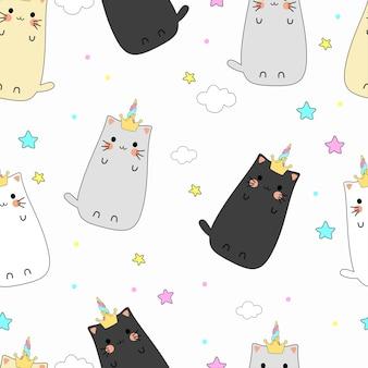 Seamless pattern cute cat