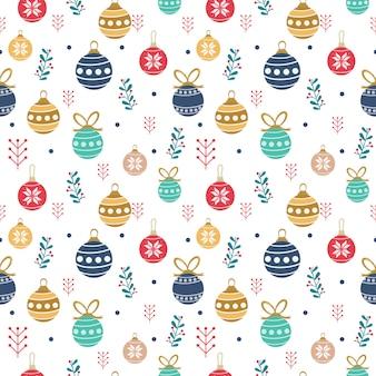 Seamless pattern of cute christmas balls