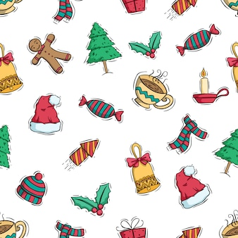 Seamless pattern of cute christmas decoration with colored doodle style