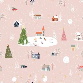 Бесшовный фон симпатичный рождественский пейзаж в городе со сказочными домами, автомобилем, белым медведем, играющим на коньках и рождественскими елками, плоский дизайн векторной панорамы в деревне в канун рождества