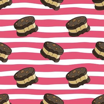 Seamless pattern of cute cookies with colored doodle style