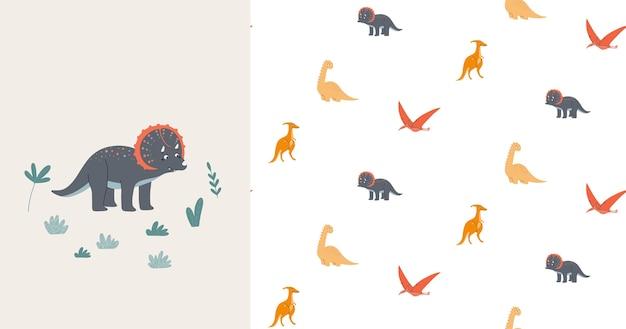 Seamless pattern cute dinosaurs mom and baby prehistoric era childrens illustration