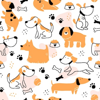 Seamless pattern of cute dog puppy. cartoon funny and happy dog character with simple shape style. illustration for background, wallpaper, textile, fabric.