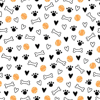 Seamless pattern of cute dog puppy symbol, toy, paw, footstep. cartoon funny and happy dog concept with simple shape style. illustration for background, wallpaper, textile, fabric.