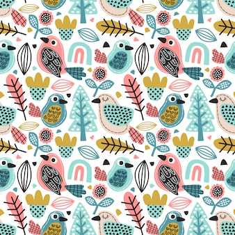 Seamless pattern cute doodle bird with foliage and flower