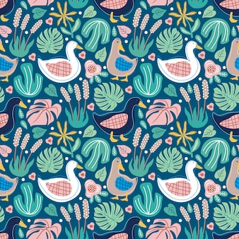 Seamless pattern cute doodle duck and foliage