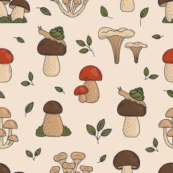 Seamless pattern of cute doodle mushrooms edible mushrooms