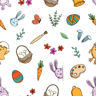 Seamless pattern of cute easter icons with hand drawn style