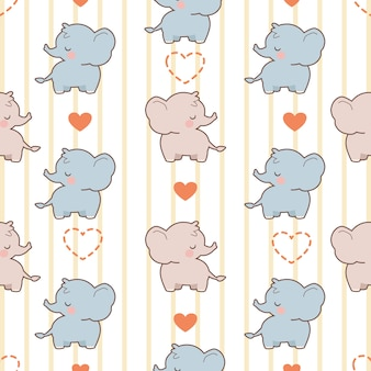 The seamless pattern of cute elephant with hearts
