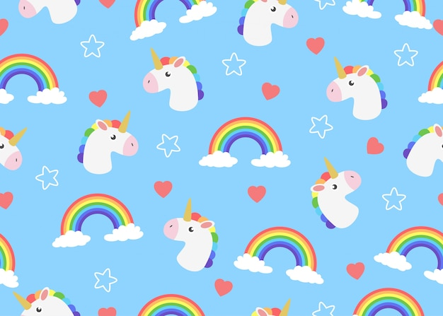 Seamless pattern of cute face cartoon unicorn with clouds and rainbow