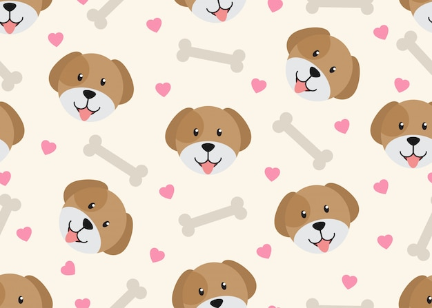 Seamless pattern of cute face dog with dog bone