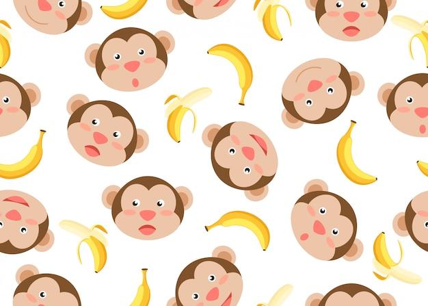 Seamless pattern of cute face monkeys