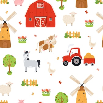 Seamless pattern of cute farm. background of farm animals in flat style. illustration with horse, cow, pig, sheep, barn, tavern, mill for wallpaper, fabric, textile, wrapping paper design. vector