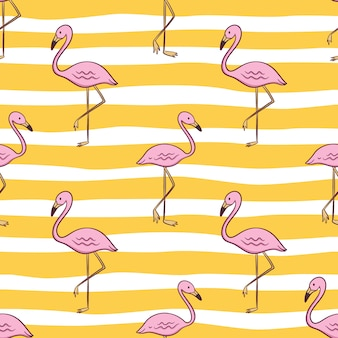 Seamless pattern of cute flamingo for summer concept with colored doodle style