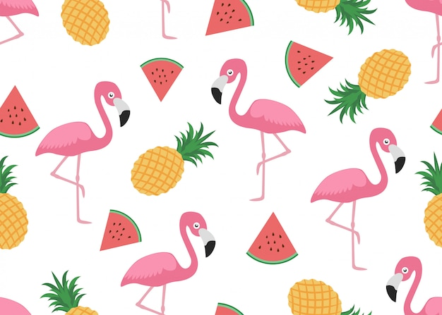Seamless pattern of cute flamingo with slice watermelon and pineapple