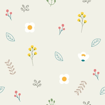 The seamless pattern of cute flower in flat vector style. illustation of flower and leaf