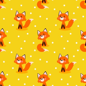 Seamless pattern of cute fox on bright yellow background.