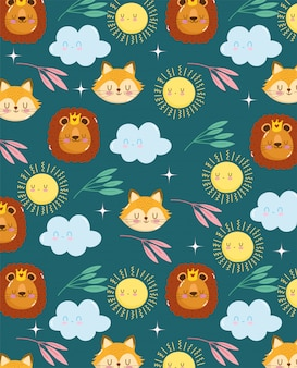 Seamless pattern of cute fox lion with flowers