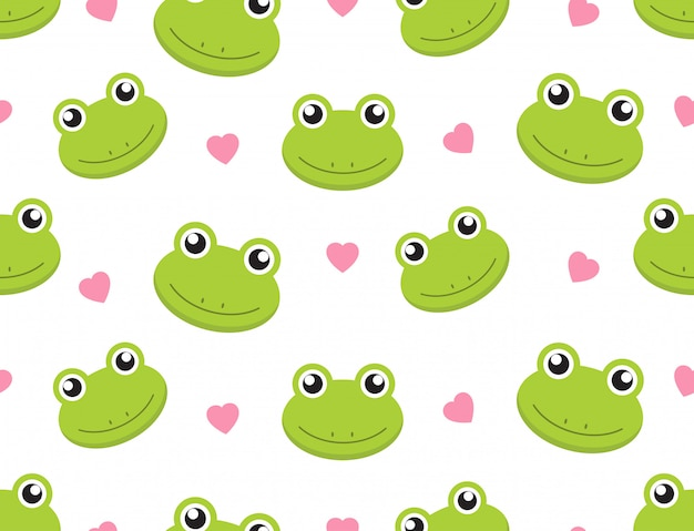 Seamless pattern cute frogs with hearts