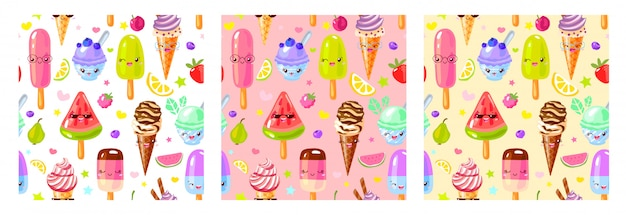 Seamless pattern cute fruit ice cream characters. child style, strawberry, raspberry, watermelon, lemon, banana pastel color background.