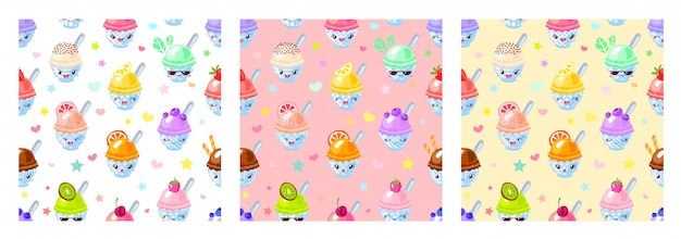 Seamless pattern cute fruit ice cream sorbet characters. child style, strawberry, lemon, banana pastel color.