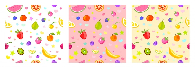 Seamless pattern cute fruits, stars, hearts. child style, strawberry, raspberry, watermelon, lemon on white, pastel yellow, pink background. simple clipart elements.   illustration