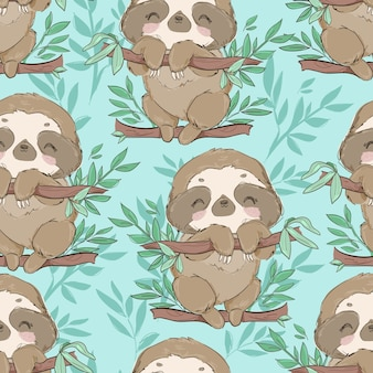 Seamless pattern cute fun sloths on a branch with leaves