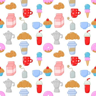 Seamless pattern cute funny breakfast food and drinks kawaii style