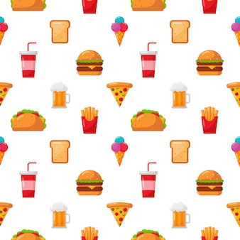 Seamless pattern cute funny fast food kawaii style icon isolated on white