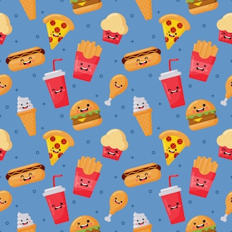 Seamless pattern cute funny fast food kawaii style icons isolated on blue
