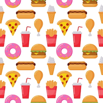 Seamless pattern cute funny fast food kawaii style icons isolated on white